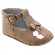 Baby Girls Caramel Brown Patent T Bar Shoes Scallop And Bow