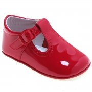 100% Leather Hand Made T Bar Baby Red Pram Shoes