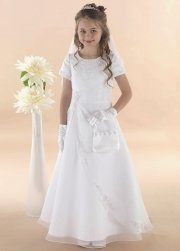 Organza Communion Dress With Lovely Beading Patterns