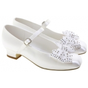 Girls First Holy Communion Shoes With Bows & Diamantes