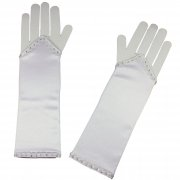 Beautiful First Communion Long Gloves Fingerless With Diamantes Decoration