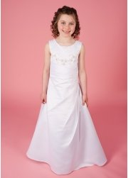 Harper Communion Dress Ornate Beaded Bodice Satin