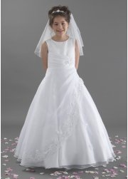 Molly Communion Dress Satin And Organza Lace Trimmed Skirt