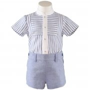 2017 Spring Summer Miranda Baby Boys White Stripes Shirt Blue Shorts Outfit