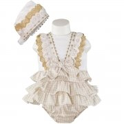 Miranda Baby Girls Light Caramel Brown Gingham White Dress And Bonnet Outfit