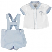 Mayoral Baby Boys 2 Piece Linen Dungaries Set