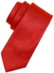 Boys tie red in striped fabric
