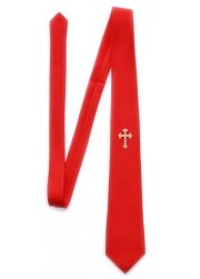 Red communion tie with a cross