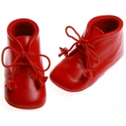 Baby girls & boys red leather Cuquito booties with tassels