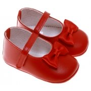 Baby Girls Red Cuquito Shoes Decorated With Bows