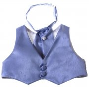 Boys blue waistcoat and cravat baby to 8 years