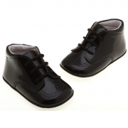 Baby Boys Black Shoes with Shoe Laces