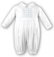 Sarah Louise Baby Boys White Christening Romper With Blue Embroideries