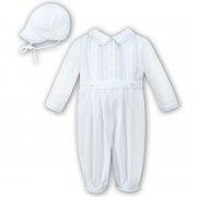 Sarah Louise Baby Boys White Romper Blue Embroideries And Hat Outfit