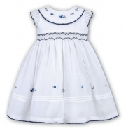 Sarah Louise White Navy Embroidered And Smocked Dress