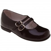 Girls Dark Brown Patent Shoes Leather Double Straps Mary Jane Style