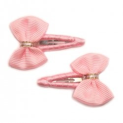 Pair of pink hair clips with bow