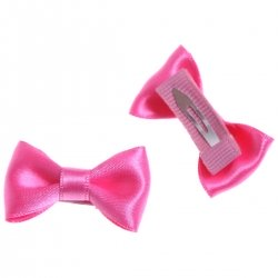 Pair of hair clips with bow in deep pink colour