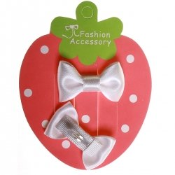 Pair of white hair clips with bow for little or fine hairs