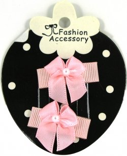 Pair of Pink Bow Snap Clips For Baby With Little Or Fine Hairs