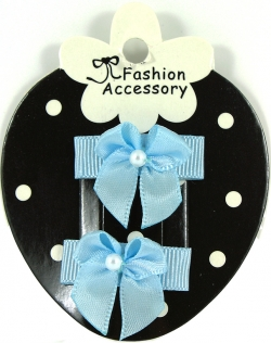 Baby Blue Hair Bow Snap Clips For Baby With Little Or Fine Hairs