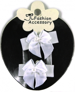 Pair of White Hair Bow Snap Clips For Baby With Little Or Fine Hairs