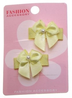 Pair Of Lemon Yellow Ribbon Bow Bead Sheepies