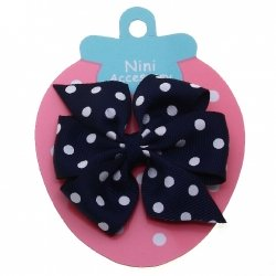 Navy White Polka Dots Boutique Bow Large Grosgain Ribbon