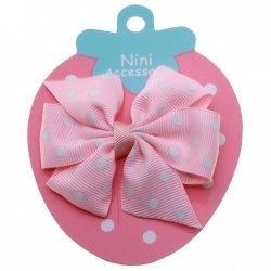 Pink White Polka Dots Boutique Bow Large Grosgain Ribbon