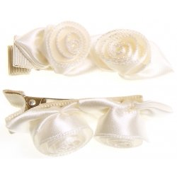 Pair of ivory 2 rose buds hair clips FREE POSTAGE