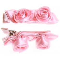 Pair of pink 2 rose buds hair clips FREE POSTAGE