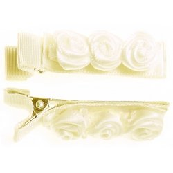 Pair of ivory 3 small rose buds hair clips FREE POSTAGE