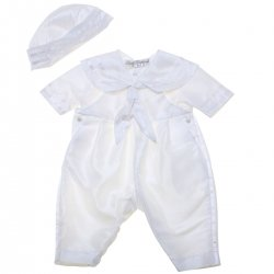 Baby Boys White Sailor Christening Romper With White Stripes