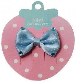 Blue bow hair clip with 4 diamonttees