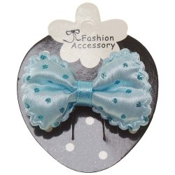 Blue Hair Bow With Glitter Blue Polka Dots