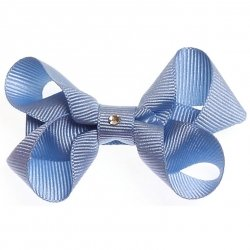 One sky blue hair bow with diamonate in crocodile clip