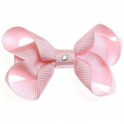 One pink hair bow with diamonate in crocodile clip