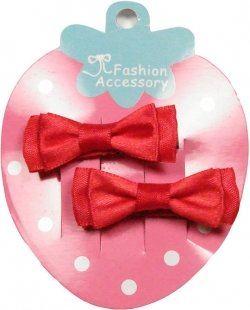 Pair of red hair bow with crocodile clips