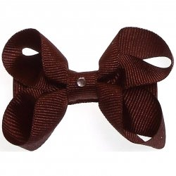 One brown hair bow with diamonate in crocodile clip