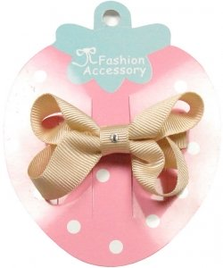 One cream hair bow with diamonate in crocodile clip