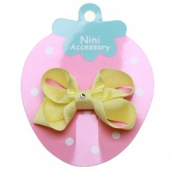One Lemon Yellow Hair Bow With Diamonate In Crocodile Clip