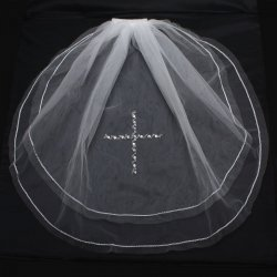 Crystal Beads Communion Veil