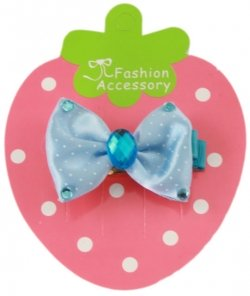 Blue bow hair clip with blue crystals
