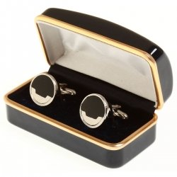 Boy cufflinks black and silver round cufflinks
