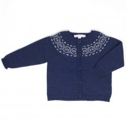 Fina Ejerique Baby Boys Wool Blend Knitted Navy Blue Cardigan