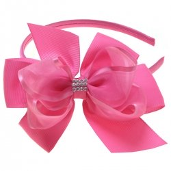 Large Fuchsia Pink Gros Grain Organza Bow With Alice Band