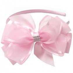 Large Pink Gros Grain Organza Bow With Alice Band