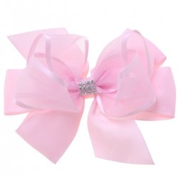 Large Pink Gros Grain Organza Bow With Diamantes