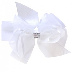 Large White Gros Grain Organza Bow