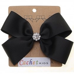Large Black Bow With Glitter Diamantes